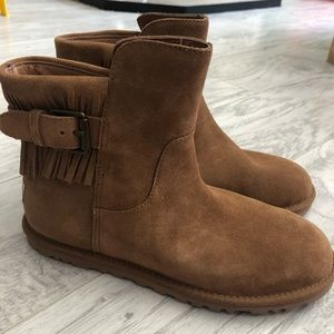 UGG Cara Fringed Suede Boots